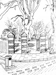 Drawing by Giles Leaman, local artist
